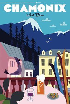 « Affiche de Chamonix » par Gary Godel | Redbubble Winter Illustration, City Illustration, Vintage Ski Posters, Chamonix, Ville France, Travel Cards, French Countryside, Art Icon, France Travel