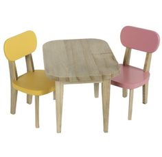 -Maileg wooden table with 2 chairs .Yellow and pink -Create an adorable party scene with this bright table set. Beautiful for play and display. Wooden Table And Chairs, Dining Chairs, Scandinavian Living, Doll Furniture, Decoration, Table Settings, Home Decor, Kid Decor, Pink Yellow