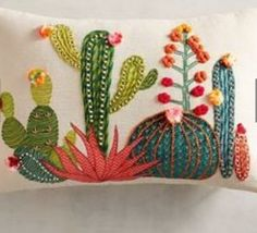 Embroidery Stitches Sunset Cactus Lumbar Pillow - The most colorful cactuses of the Southwest are embroidered and appliqued to create this charming pillow for your sofa, bed or chair-without the prickly spines. Embroidery Art, Embroidery Stitches, Embroidery Patterns, Cactus Embroidery, Embroidered Cactus, Embroidered Pillows, Pillow Embroidery, Crochet Stitches, Sewing Pillows