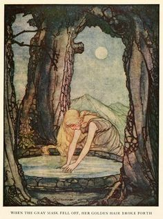 Rie Cramer (1887-1977) was a Dutch children's book illustrator. She moved to the Netherlands from Indonesia when she was nine years old, and studied at the Art Academy in the Hague. Source: Art of Narrative: Rie Cramer ~ Grimm's Fairy Tales ~ 1927: