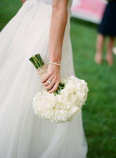 white rose & hydrangea bouquet