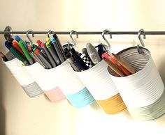 Amanda m amato s discussion on hometalk desk storage towel bar super easy diy want to keep your desk less cluttered add a towel rod with cans holding all your daily supplies 35 space saving diy hidden storage ideas for every room Desk Storage, Desk Organization, Craft Storage, Storage Ideas, Clothes Storage, Organizing Ideas, Closet Organisation, Towel Storage, Hanging Storage