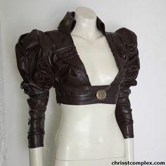 Steampunk Gothic Bolero Underbust Leather Wedding Bridal Cosplay Victorian Leather ette - Andru Chrisst Unique Fashion. $298.00, via Etsy.