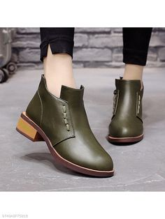 29f40b7a03c Plain Chunky Low Heeled Round Toe Date Office Ankle Boots - berrylook.com  Office Ankle