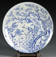 Large Blue and White Porcelain Charger, Japan, 19th century