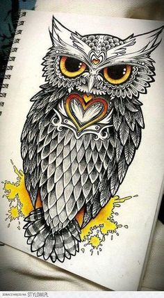 Yellow Owl Tattoo with Hearts