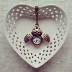 Owl Clock Necklace via choc.hotlate. Click on the image to see more!