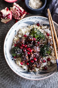 Pomegranate Sesame Chicken with Ginger Rice Pilaf #dinner