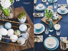 coloresdemialma: Wielkanocny stół w odcieniach indygo
