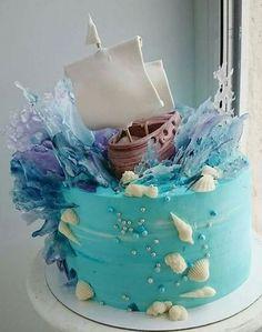 #cake #torta Cakes To Make, How To Make Cake, Ocean Cupcakes, Mini Cupcakes, Cupcake Cakes, Fun Cakes, Ocean Birthday Cakes, Baby Birthday, Birthday Ideas