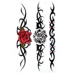 Watertight and sweat fake tattoos sexy Red rose Black rose for women. High quality Temporary Tattoos are very realistic & look exactly like real tattoos on the skin. Certification:F.D.A, EM/N71, ASTM. Quick and easy to apply,safe and Non-Tox. Not for children under 3years.Temporary Tattoos are not recommended for use on sensitive skin and are not returnable. Will apply to almost any surface: clothing, mirrors, cups, glasses and more.