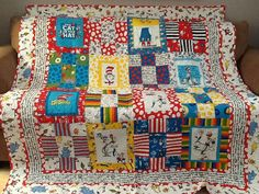 Dr Seuss Cat in the Hat Quilt by FabricatedQuilts on Etsy, $225.00