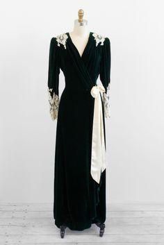 1930's green velvet + lace robe.