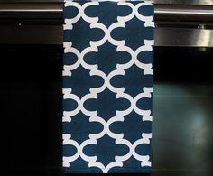 Dusty Navy Quatrefoil Kitchen  or Hand Towel by DesignsByThem