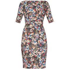 Erdem Kirsten Gloria Garden print jersey dress ($791) ❤ liked on Polyvore featuring dresses, black print, jersey dress, black jersey dress, floral jersey dress, holiday dresses and black evening dresses