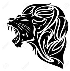 furious lion black and white vector outline - tribal design (gas tank left side Red Diamond Glide) Tribal Lion Tattoo, African Tribal Tattoos, Lion Tattoo Design, Tribal Tattoo Designs, Tribal Drawings, Tattoo Drawings, Body Art Tattoos, Arte Tribal, Tribal Art
