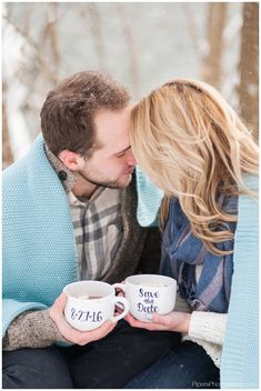 Romantic snow Engagement Session at Alley Park in Lancaster Ohio by Pipers Photography Krista Piper | Woods | white and beige | Ohio Wedding Photographer | Save The Date mugs | Hot Chocolate  Engagement Photos