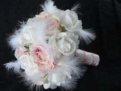 Realtouch Cream/white roses Blush Silk Roses by modagefloral