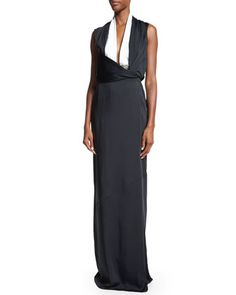 Sleeveless+Two-Tone+Gown,+Black/White+by+Victoria+Beckham+at+Bergdorf+Goodman.