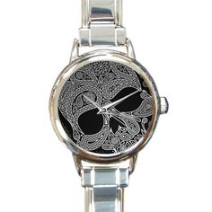 Personalized Watch Cool skull Round Italian Charm stainless steel Watch >>> If you love this, read review now : Travel Gadgets