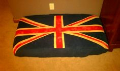 Dog bed, used an old crib matress and quilted the Union Jack out of fleece for a cover.