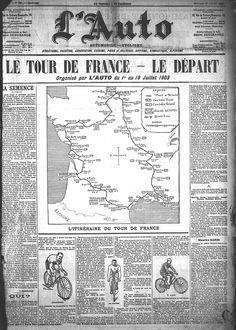 La Une L'Auto-Vélo du 1er juillet 1903 avec le tracé du Tour de France (photo : L'ÉQUIPE).