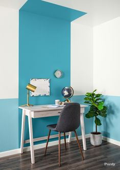 In this project, the professionals at Purdy walk you through painting a color block wall. Office Wall Paints, Office Wall Colors, Office Walls, Colour Blocking Interior, Bedroom Wall, Bedroom Decor, Half Painted Walls, Room Wall Painting, Plant Painting