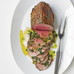Rare Roast Beef with Fresh Herbs and Basil Oil | #WinePairing: Flora Springs Cabernet Sauvignon