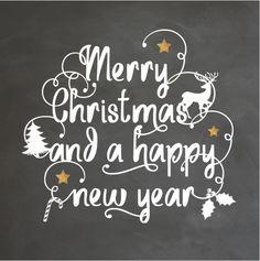 Gave enkele kerstkaart met sier krulletters in handlettering, schoolbordkrijt print op de ondergrond, koper kleurige sterren en kerst icoontjes! En Engelse kerst teksten!