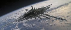 Digital Matte Painting of futuristic city in Space. City Above the Clouds Futuristic City, Futuristic Architecture, Futuristic Vehicles, Space City, Photoshop, Sci Fi Characters, Above The Clouds, Matte Painting, Sci Fi Fantasy