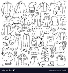 Childish clothes and lettering doodle set vector image on VectorStock Bullet Journal Art, Bullet Journal Inspiration, Stick Figure Drawing, Drawing Room Design, Cute Cartoon Drawings, Doodle Lettering, Sketch Notes, Animal Coloring Pages, Textile Prints