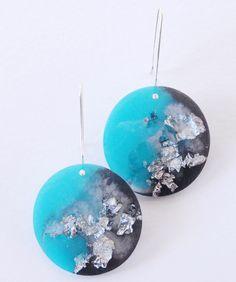 Luna Earrings / Resin and Silver / OOAK / MakeForGood by MelanieAugustinArt on Etsy