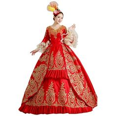Partiss Women's Prom Gothic Victorian Fancy Palace Masquerade Lolita Dresses, Chinese Large, Red