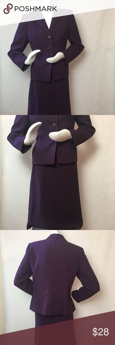 """Evan Picone 2-Piece Suit Evan Picone 2-Piece Suit. Size 12. Jacket and skirt. Color: purple. 100% polyester. Jacket: 41"""" bust, 24"""" sleeve length, 23 1/2"""" length. Skirt: 30"""" waist, 26"""" length. Minor pull in stitching (barely noticeable) at skirt hem. Evan Picone Jackets & Coats Blazers"""