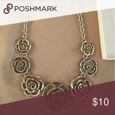 Silver flower necklace Silver flower statement necklace Jewelry Necklaces