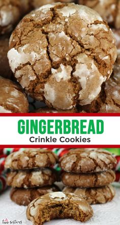 Gingerbread Crinkle Cookies -  light, fluffy and spicy on the inside and sweet and crunchy on the outside is a delicious Christmas dessert.  So easy to make, so delicious, so Christmas-y!  You're definitely going to want to add this recipe to your Christmas desserts baking list! #ChristmasDesserts #EasyChristmasDessert #FunChristmasDessert