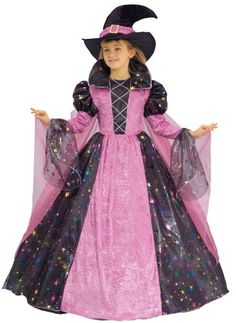Deluxe Witch Dress Up Set for Children, Deluxe Witch Dress Up Set for Children premium quality childs costume dress up play set. deluxe witch outfit includes: the long witch dress with sheer flair sleeves, stand up collar and colorful spark..., #Apparel, #Girls