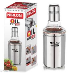 Water Bottles Nirlon Stailnless Steel Oil Dispenser 1000ml - Oil Pot Material: Stainless Steel Pack: Pack of 1 Length: 10 Inch Breadth: 1.5 Inch Height: 10 Inch Size (in ltrs): 1 L Size: Free Size Country of Origin: India Sizes Available: Free Size   Catalog Rating: ★4.2 (1075)  Catalog Name: Fancy Water Bottles CatalogID_1180868 C130-SC1644 Code: 782-7362611-614