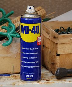 WD-40 USES: Please remember that this is a petroleum-based lubricant, wear gloves, safety goggles & be in a well-ventilated area when using it. My FAVS: Removing road tar & grime from cars. Removing lipstick stains. Loosening stubborn zippers. Untangling jewelry chains. Removing dirt & grime from BBQ grill. Keeping scissors working smoothly. Lubricating noisy door hinges etc. Removing all traces of duct tape. Removing crayon from walls, spray on mark, wipe w/ clean rag.