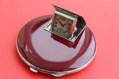Vintage Art Deco Ladies Boudoir Travel Powder Compact Enamel Case with Watch
