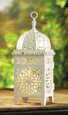 by White Candle Company Tall Elegant Moroccan Lantern Clear