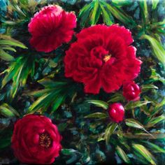 Buy Red peonies - medium size on canvas - 50X50 cm, Acrylic painting by Fabienne Monestier on Artfinder. Discover thousands of other original paintings, prints, sculptures and photography from independent artists.