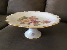 Schumann Arzberg Wild Rose Cake Plate, crown footed