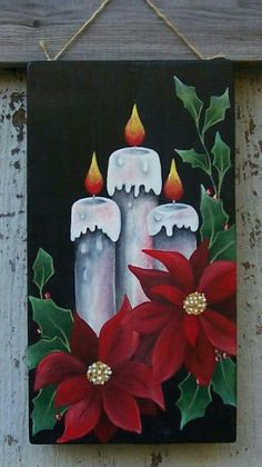 Christmas Candlespoinsettias Painted On Plywood With Acrylic Paint. Christmas Candlespoinsettias Painted On Plywood With Acrylic Paint. Noel Christmas, Christmas Signs, Christmas Pictures, Vintage Christmas, Christmas Decorations, Christmas Ornaments, Christmas Cookies, Christmas Paintings On Canvas, Painting Canvas