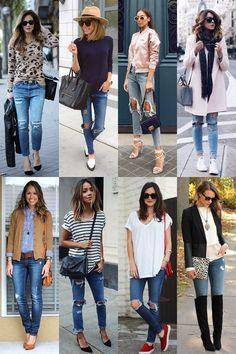 calça rasgada 8-vert Estilo Cool, Office Wear, Modeling, Capri Pants, Women's Fashion, Jeans, How To Wear, Stuff To Buy, Outfits