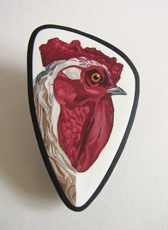 polymer clay chicken cane brooch by CWARTIST on Etsy