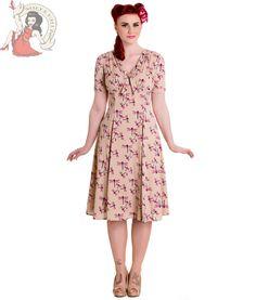 HELL BUNNY 40s 50s ELOISE vintage style DRAGONFLY tea DRESS BEIGE in Dresses | eBay