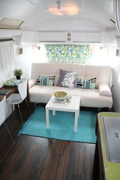 Airstream interior with modern blues and greens Airstream Remodel, Airstream Renovation, Airstream Trailers, Trailer Remodel, Airstream Bambi, Tiny Trailers, Airstream Interior, Trailer Interior, Vintage Airstream