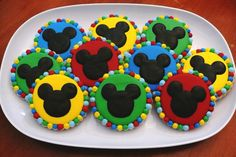 Mickey Mouse decorated cookies to be used as favors at a birthday party - Disney, Mickey Mouse Clubhouse, rainbow, colorful.  www.facebook.com/cookiesbycharity