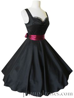 Black Sweetheart Lace Burgundy Bow Dress, $90.00